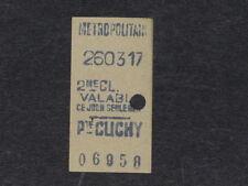 [COLLECTIONS] TICKET de METRO ANCIEN PORTE DE CLICHY 2e Classe Billet Railway