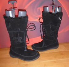 *37* DOROTHY PERKINS BLACK  LEATHER SUEDE FAUX FUR LINED WEDGE BOOTS  UK 5 EU 38