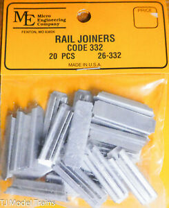 Micro Engineering Co. G #26332 (Rail Joiners) Code 332 (20pcs) Metal
