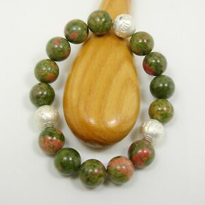 12mm Rainforest Jasper Gemstone Stretch Bracelet & Om Ball 925 Sterling Silver
