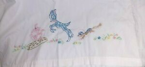Baby Sheet & Pillowcase, Bambi, Embroidered, GUC, Vintage, Beautiful Condition