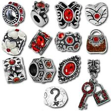 Beads and Charms for European Charm Bracelets Red January July Birthstone