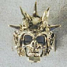 1 DELUXE SKULL HEAD SPIKED HELMET SILVER BIKER RING BR21 mens fashion jewelry