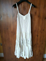 RRP $148 - FREE PEOPLE SUMMER MIDI DRESS Cream Boho Crochet XS / UK 8-10 - NEW