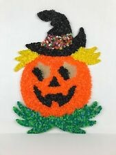 """Vintage Melted Popcorn Plastic Halloween Pumpkin with Black Witch Hat 17"""" Tall"""