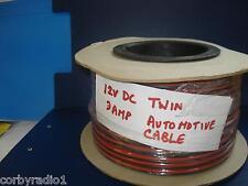 5MTS CON DOPPIO CAVO INTERNO 3 AMP AUTO TASSAMETRO RADIO CB ROSSO/NERO FICO DI 8