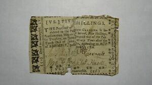 1768 Five Shillings North Carolina NC Colonial Currency Note Bill! 5s! RARE
