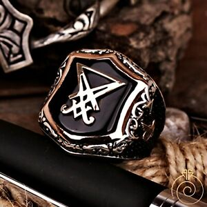 Devil Seal Of Satan Signet Mens Shield Ring Baphomet Sigil Of Lucifer For Men
