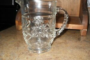 """Vintage Crystal Clear Cut Glass Small Pitcher Etched Design 5.75"""" Tall"""