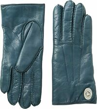 Coach 253570 Womens Leather Turnlock Gloves Moroccan Blue Size 6 5