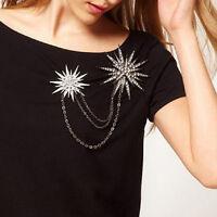 Crystal Chain Jewelry Rhinestone Star Brooch Snowflake Pins Blouse Collar Clip
