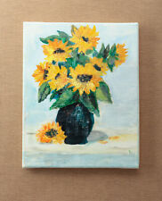 Sunflowers Acrylic Painting on Canvas Floral Art Flowers in Vase Modern Art