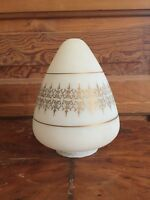 Vintage Mid Century Frosted Glass With Gold Decoration Pendant Light Shade A