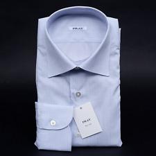 $560 NWT FRAY Blue Tartersall Extrafine Cotton Point Collar Dress Shirt 17 43
