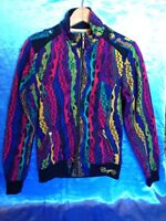 Coogi Jacket Zip Multi Color With Stripes Lightweight Cinched Sleeve