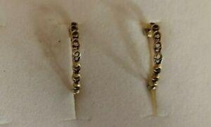 Vintage 9ct gold open loop half hoop earrings -1gm