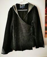 NOA NOA 100% Wolle Jacke Wickeljacke Kapuze Casual-Look Gr.L grau  ##LRS1069