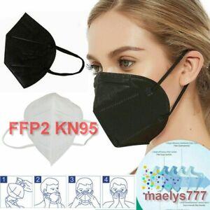 masque de protection lot 10/50/100pcs NOIR/BLANC 5 couches Norme CE