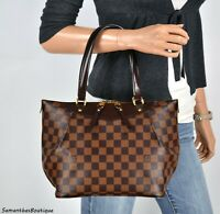 LOUIS VUITTON WESTMINSTER PM DAMIER EBENE LEATHER SHOULDER BAG PURSE HANDBAG