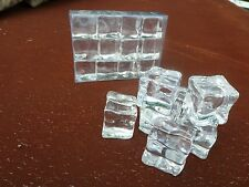 Fake Faux Acrylic Ice Cubes Crystal Clear  12 Pack  3/4 Inch Square Props Gags