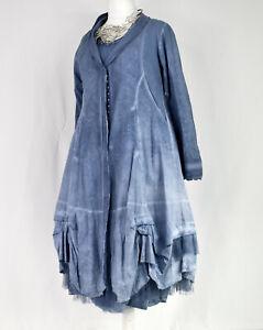 Berlin Designer PANGEA Washed Blue Parachute Cotton Coat Size L/XL