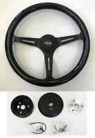 """Chevelle Camaro El Camino Nova Black Wood Steering Wheel 15"""" on Black Bowtie Cap"""