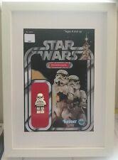 Lego Star Wars Display - GENUINE Lego Stormtrooper in Vintage Themed Frame