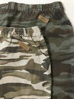 """*LOT OF 2* Cabela's 48 x 8.5"""" Outdoors Elastic Waist Camouflage Cargo Shorts"""