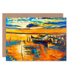 Boat By The Dock At Sunset Card With Envelope