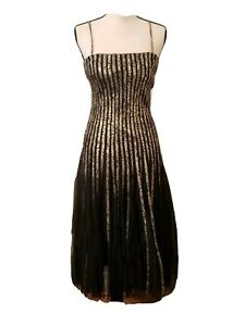 Cache holiday Cocktail prom metalic black gold Dress Size US6/UK8/EEC34/Fr35