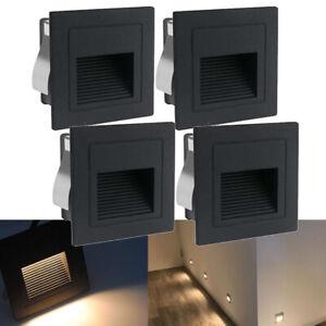 4x LED Wandeinbauleuchte Warmweiß Stufenlicht Treppenlicht Alu Außen 230V Lampe