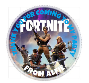 FORTNITE Personalised 40mm Round Matt Stickers Birthday Party Circle Labels