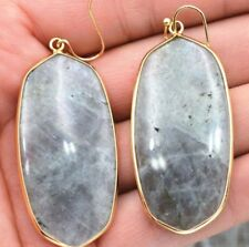 Gp Earrings Womens Fashion Aaa Natural Labradorite Gemstone Gold Plated 18K