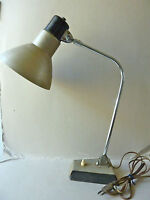 lampe de bureau, d'atelier, métal kaki et chrome, vintage, design des années 60