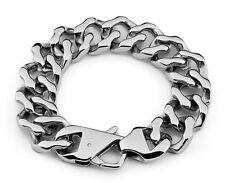 【From USA】Punk Rocker Biker Gothic Cuban Curb 19mm Stainless Steel Bracelet