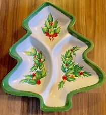 Vintage ~ Plastic Tree ~ Snack Serving Tray ~ 3 Sections ~ Holly