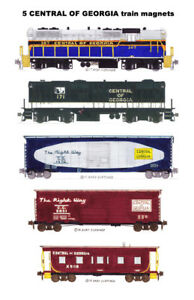 Central of Georgia Freight Train 5 Railroad magnets Andy Fletcher