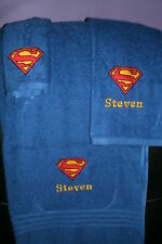 Superman Logo Personalized 3 Piece Bath Towel Set Superman Superhero Towels