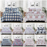 Quilted Patchwork Bedspread Throw Single Double King Size Bedding Set + Pillows