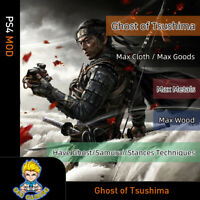 Ghost of Tsushima (PS4 Mod)-Max Cloth/Goods/Metals/Wood/Techniques