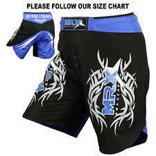 MMA FIGHTER SHORTS GRAPPLING SHORT UFC CAGE KICK BOXING BLACK BLUE MEDIUM