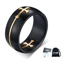 Anello Acciaio Nero Croce Celtica Oro Uomo Donna Unisex