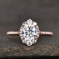14k Rose Gold Finish Cluster Floral Engagement Ring 3.00 ct round Cut Diamond