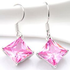 Jewelry Natural Pink Fire Topaz Kunzite Gemstone Silver Dangle Hook Earrings