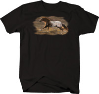 Majestic White and Brown Horse Galloping in Wild Field Riding T-shirt