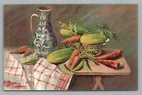 Vegetable Still Life—Antique PC Gammius Boecker—Antique Embossed Carrot '09