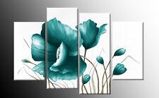 Foto di grandi dimensioni color foglia di tè in tela floreale fiori dipinto wall art SPLIT Multi 100 cm