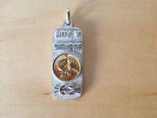 New Gold and silver pendant Colgante de oro y plata - Del AMOR rectangular Nuevo