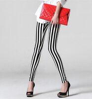 Punk Style Women Girls Sexy Black White Stripe Print Leggings Pants New