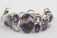 New Sterling Silver and Purple Jasper Stones Bracelet